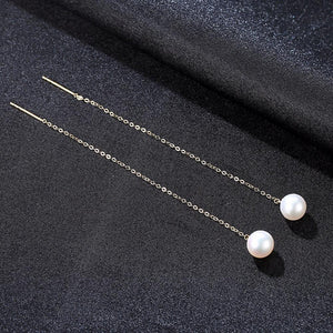 Pure 18K Gold Natural Pearl Dangle Earrings - Enumu