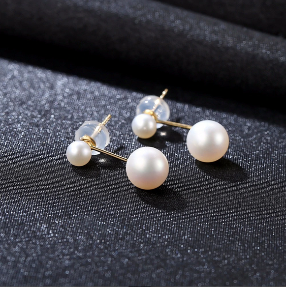 Pure 18K Gold Double Natural White Pearl Earrings - Enumu