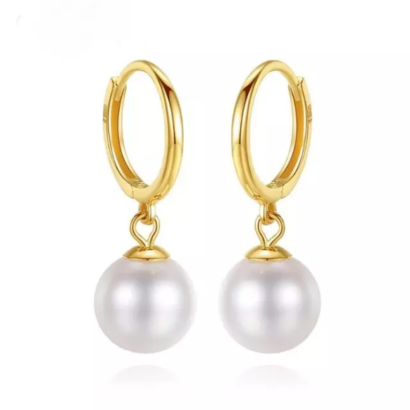 Pure 18K Yellow Gold Natural Freshwater Pearl Hoop Earrings 6.5-7mm - Enumu