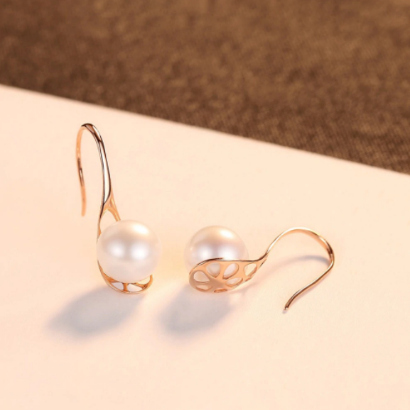 Pure 18K Real Gold Natural Classic Pearl Drop Earrings - Enumu