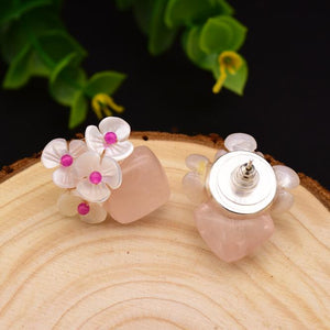 Sterling Silver Natural Shell Studs Earrings - Enumu