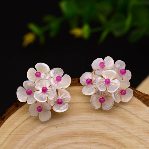 Handmade Sterling Silver Shell Flower Studs/ Earrings - Enumu