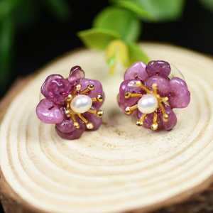 Natural Amethyst Sterling Silver Studs/ Earrings - Enumu