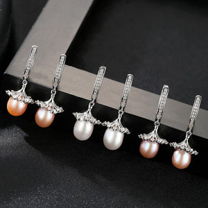 Sterling Silver Natural Pearl Dangle Earrings - Enumu