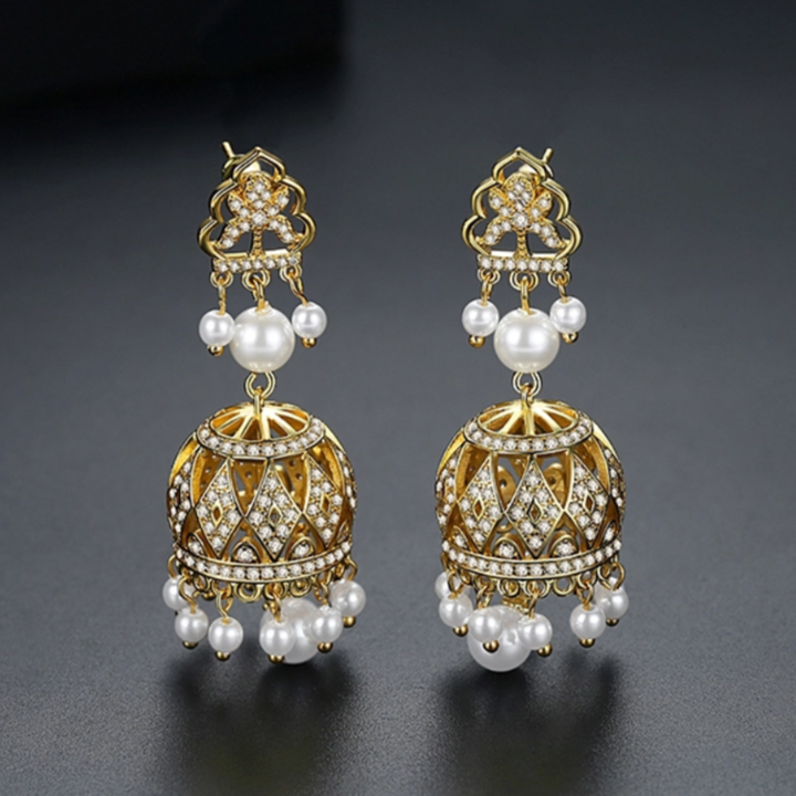 YGP Zircon Pearl Jhumka /Jhumki Earrings - Enumu