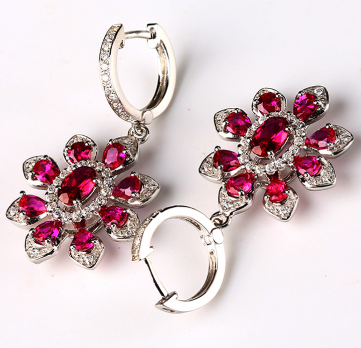 Pure 92.5 Sterling Silver Ruby Dangle Earrings - Enumu