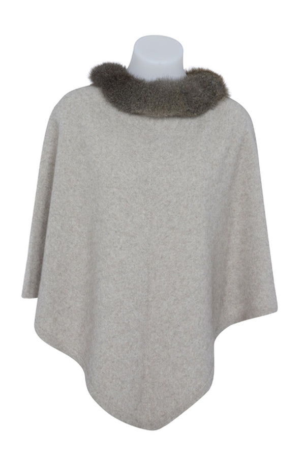 Possum Trimmed Poncho KC686