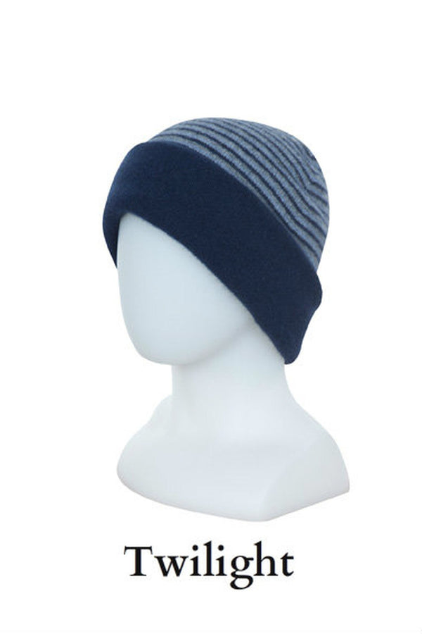 Striped Double Layer Reversible Beanie KC397