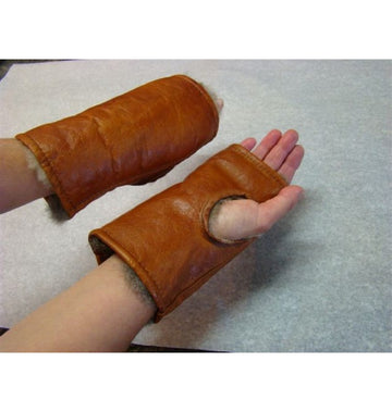 Possum Fur and Leather Fingerless Mittens