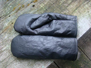 Possum Fur and Leather Mittens