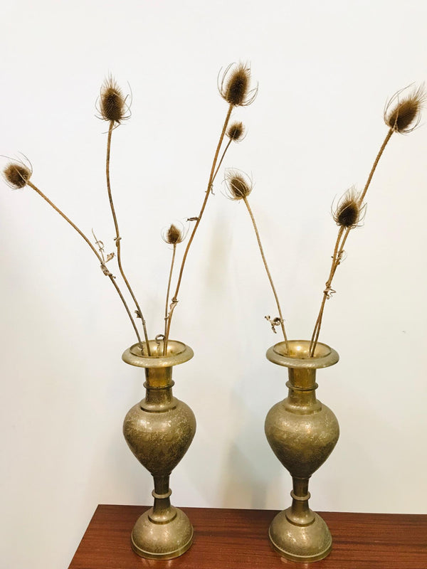 Vintage brass indonesian vases