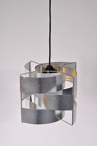 1960s Max Sauze aluminium hanging lamp produced by Studio Max Sauze in France