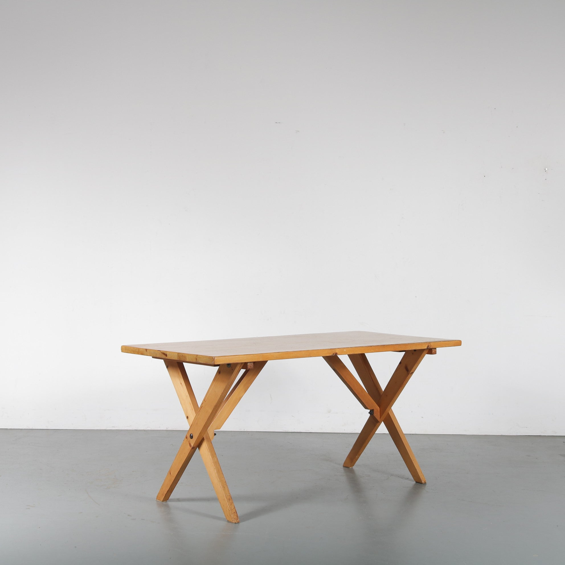 1960s Pine cross base dining table, France