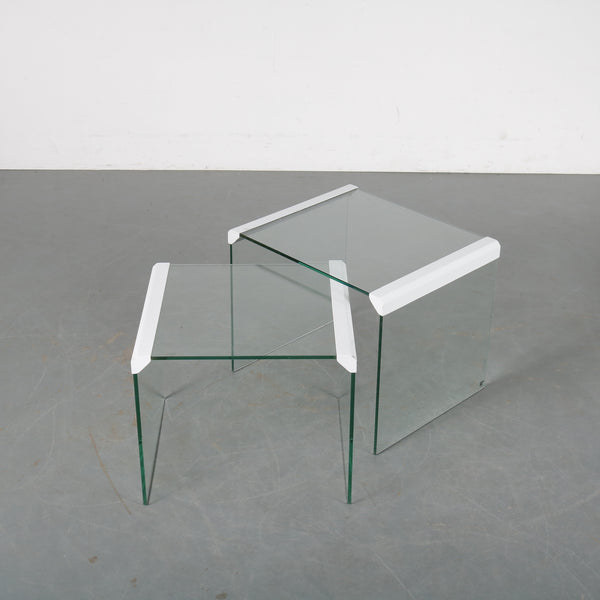 Tweedehands design 1970s Gallotti & Radice glass nesting tables designed by Pierangelo Gallotti, manufactured in Italy