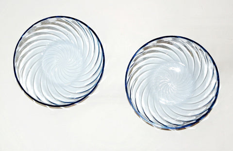 2 Blue depression glass bowls