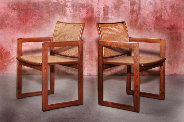 Tweedehands design 2 Cane Webbing Beech Wood Armchairs