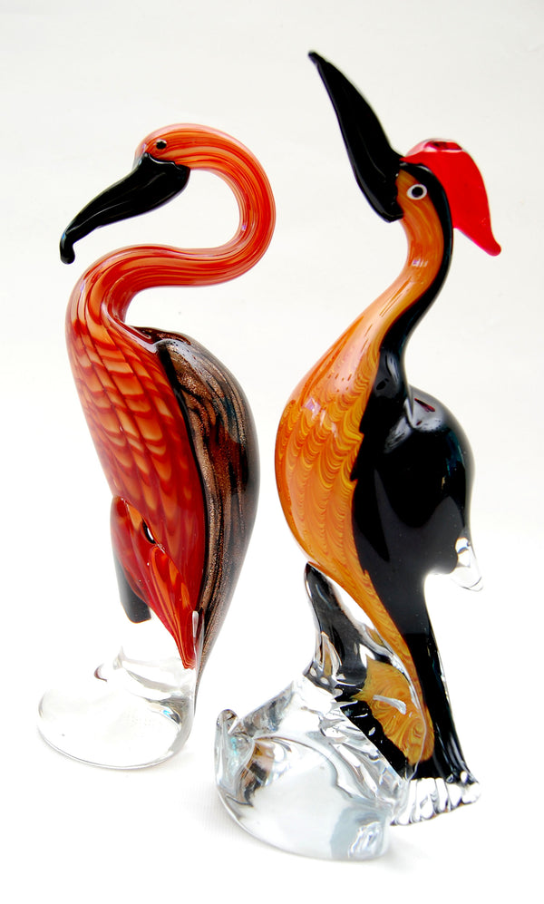 Tweedehands design 2x Mid-20th Century Murano Glass Sculpture Exotic Birds