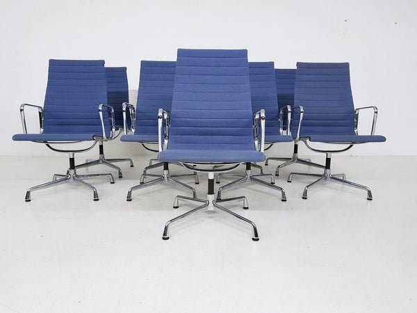 Tweedehands design 3x Eames model EA107 office chairs for Vitra in light blue, U.S.A. 1958