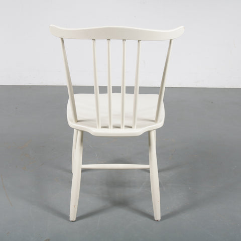 4x Hagafors, white wooden spokeback chairs 1960s