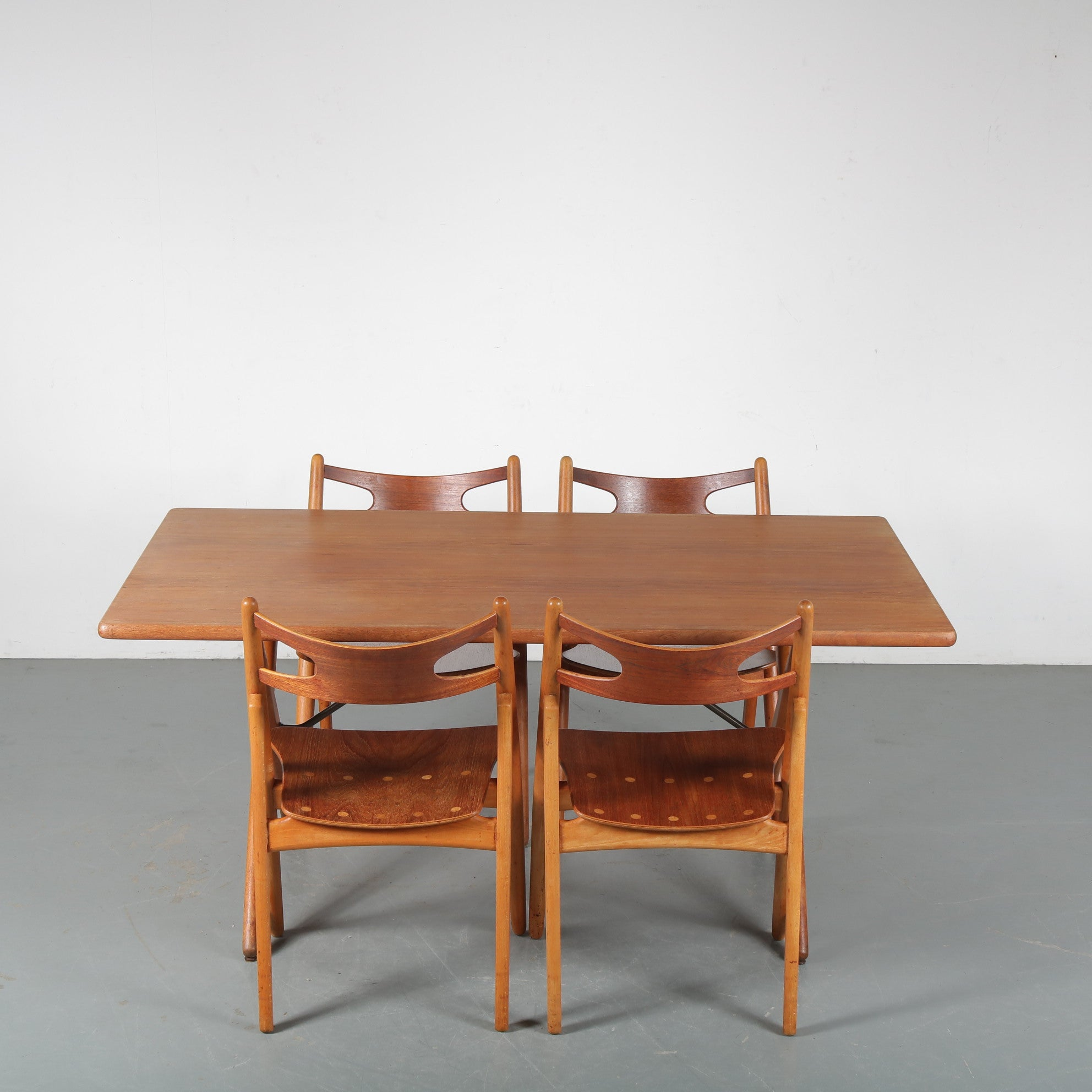 Hans J. Wegner Sawbuck Dining Set for Andreas Tuck, Denmark 1950