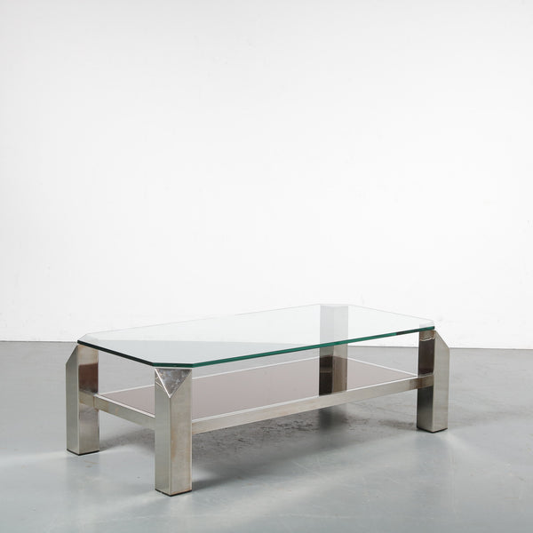Tweedehands design Belgo Chrom, Chrome coffee table, Belgium 1970s
