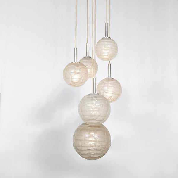 Tweedehands design Doria Leuchten, Glass balls hanging lamp, Germany 1960s