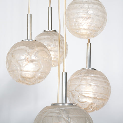 Doria Leuchten, Glass balls hanging lamp, Germany 1960s