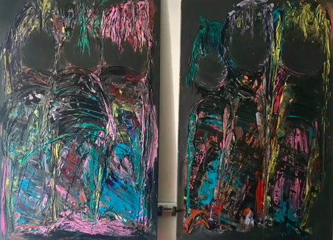 EllesBB, Abstract figuratief schilderij, 'Blind Audition'