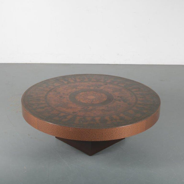 Tweedehands design Etched copper coffee table from Italy 1970s