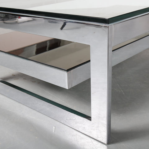G-Shape Coffee Table by Belgo Chrom, Belgium 1970