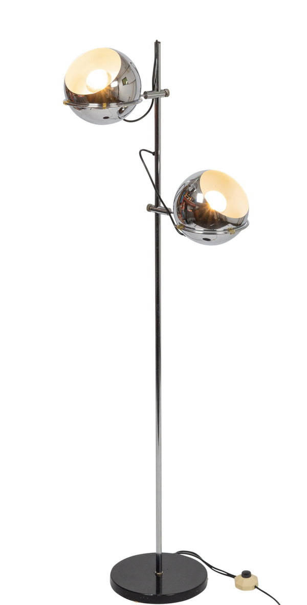 Tweedehands design Gepo chromed floor lamp, adjustable shads