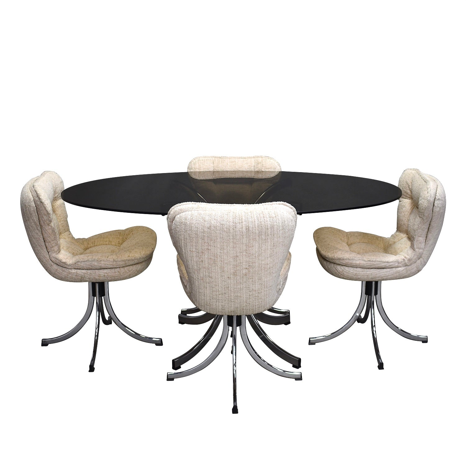 Tweedehands design Italian oval dining set in chrome and smoked glass, circa 1970