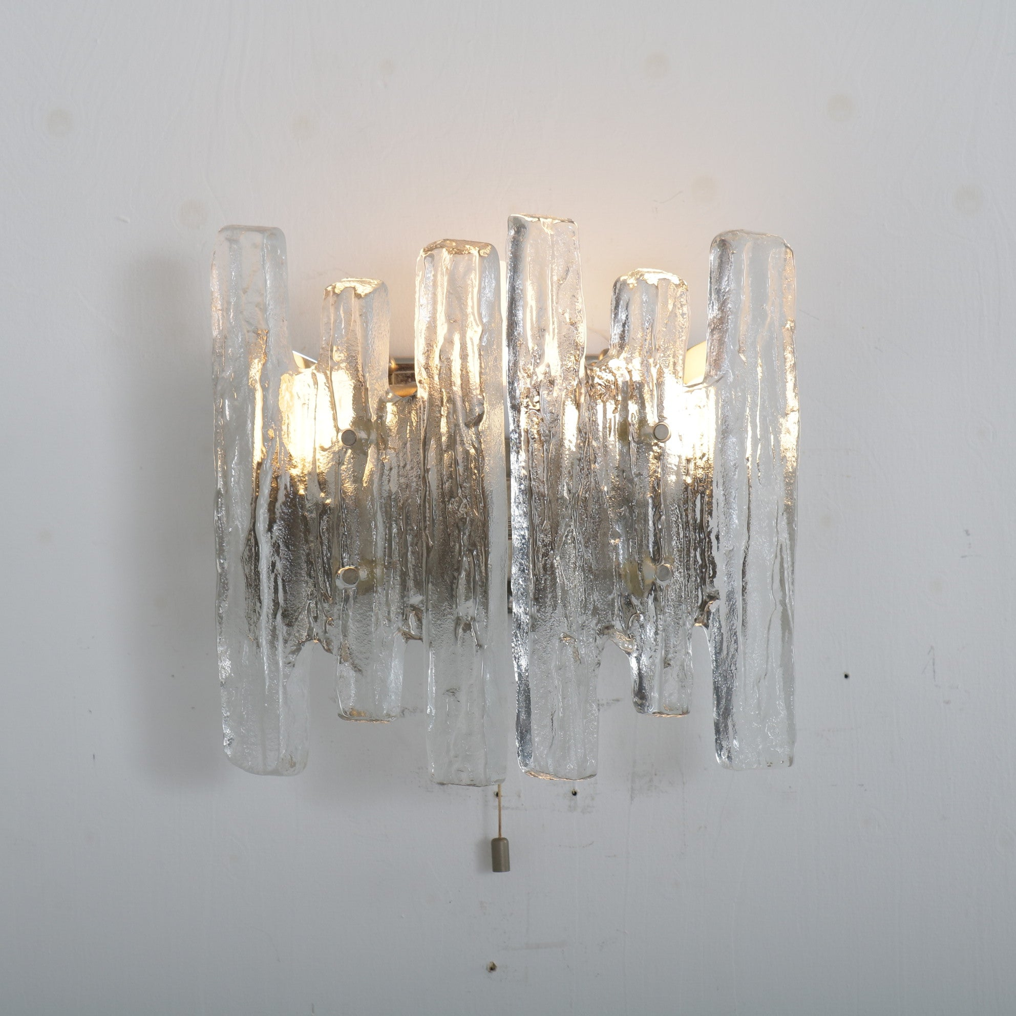 Tweedehands design J.T. Kalmar manufactured, Iced glass wall lamp in Austria 1970s