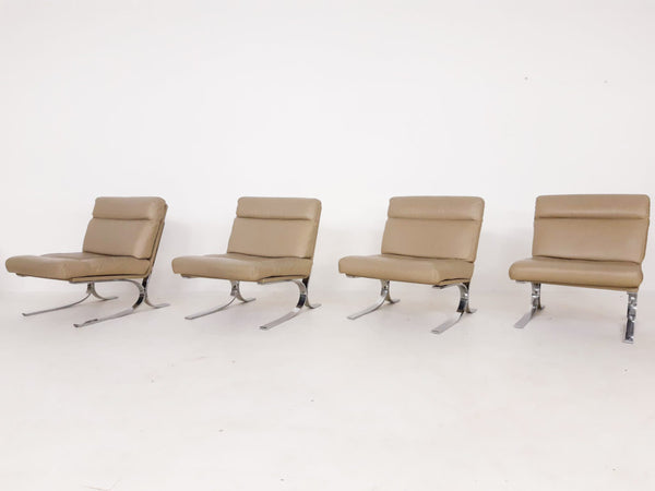 Tweedehands design Leather and chrome lounge chairs in the style of Paul Tuttle for Strassle