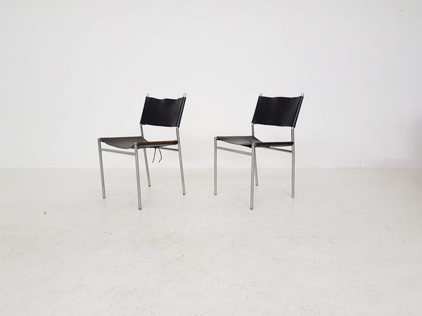 Tweedehands design Set of 2 Martin Visser SE06 black leather dining chairs