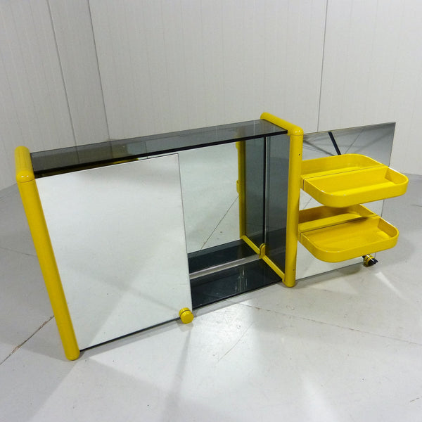 Tweedehands design Smoked & Mirror Glass Bathroom Wall Unit 1960's