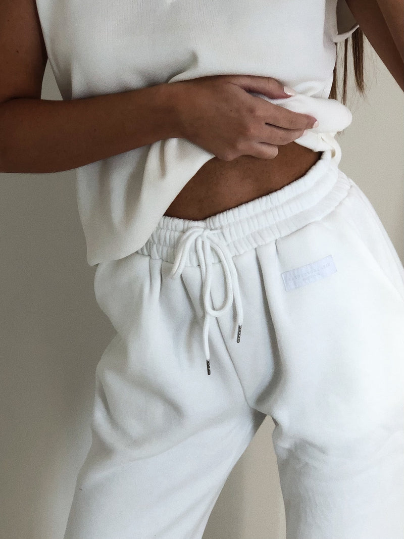 Embroidered Kiki Joggers White