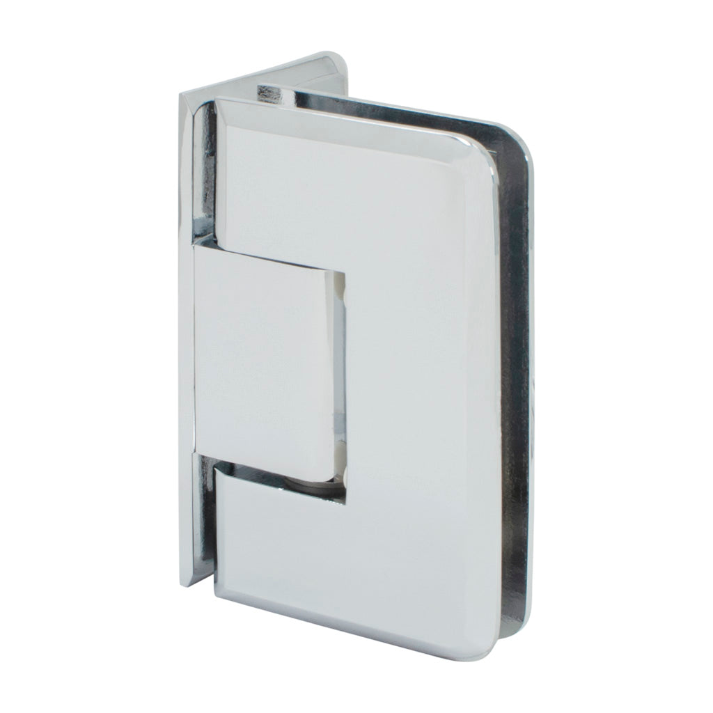 Beveled Hinge <br> Heavy Duty <br> Wall to Glass <br> 90° <br> Offset Back Plate