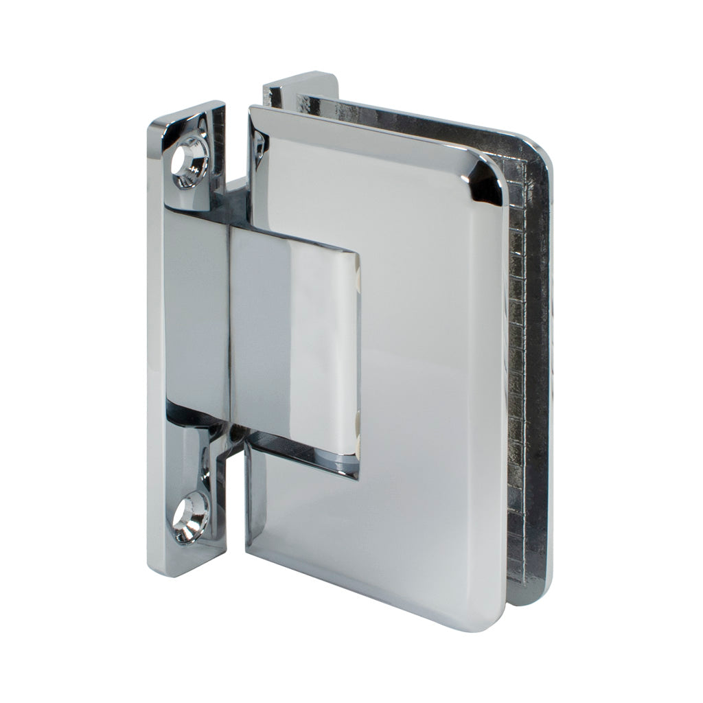 Beveled Hinge <br> Standard Duty <br> Wall to Glass <br> 90° <br> Full Back Plate