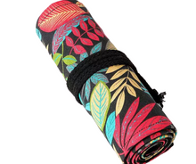 Load image into Gallery viewer, Flower Child - Bright Colored Floral 36 Hole Roll-Up Pencil Holder Case - The Dallas Gordon Collection