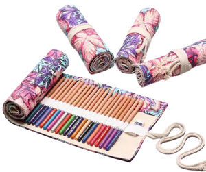 Flower Child - Bright Colored Floral 36 Hole Roll-Up Pencil Holder Case - The Dallas Gordon Collection