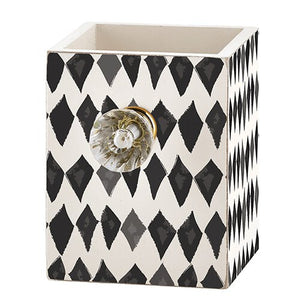 Harlequin Fashion Pen Holder with Decorative Crystal Knob - *Closeout* - The Dallas Gordon Collection