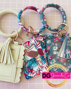 Patterned Bracelet Keychain with Wallet - The Dallas Gordon Collection