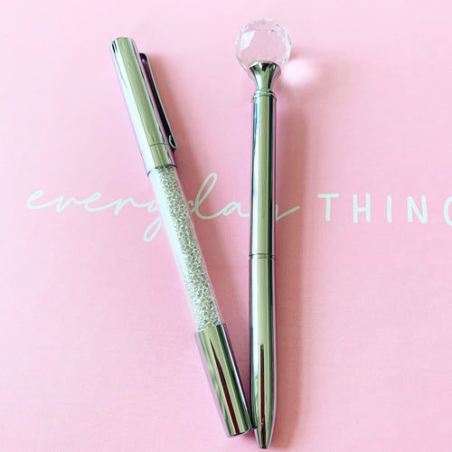 Sparkle and Shine - 2 Piece Silver Ball & Glitter Pen Set - The Dallas Gordon Collection