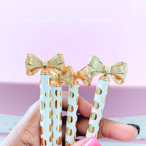 Bubbly - White and Gold Polka Dot Pen with Bow - The Dallas Gordon Collection