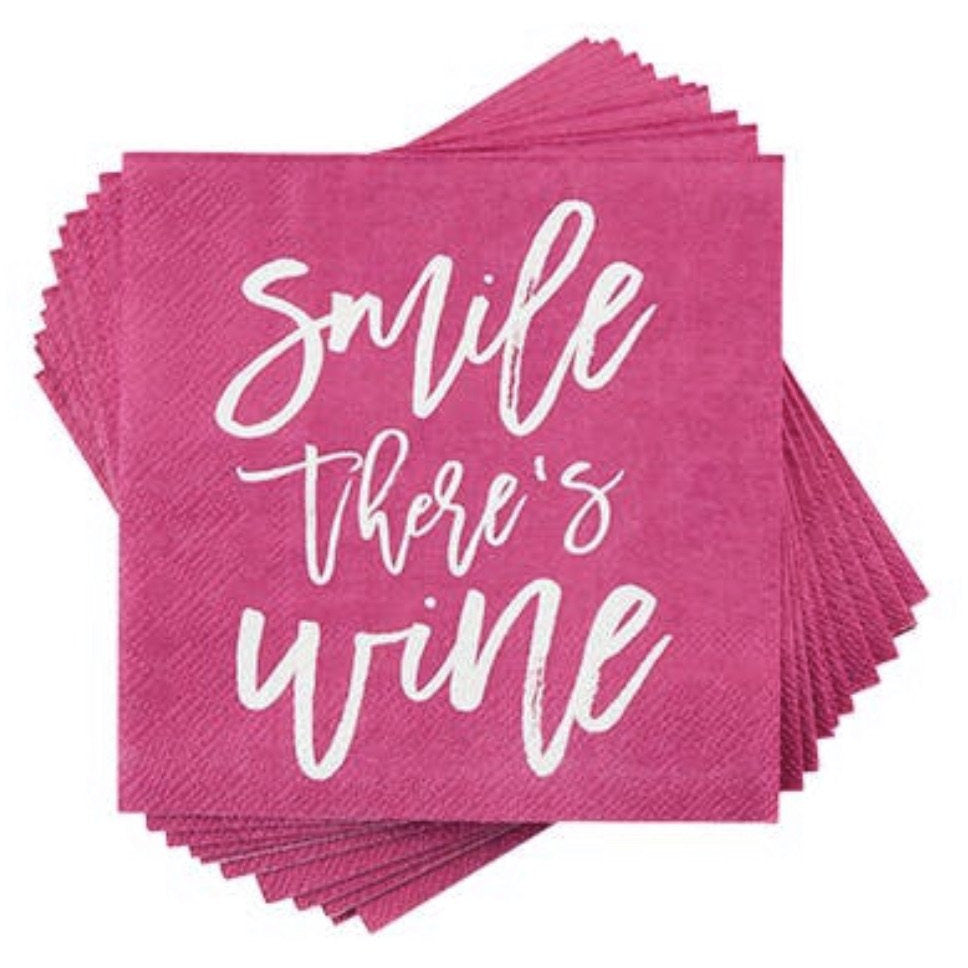 Smile There's Wine Party Napkins - The Dallas Gordon Collection