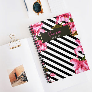 I am enough - DG Journals Collection Floral Print Spiral Journal - The Dallas Gordon Collection