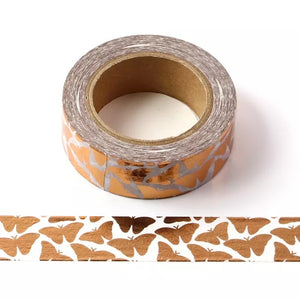 So Fly -Gold Foil Butterfly Printed Washi Tape - The Dallas Gordon Collection