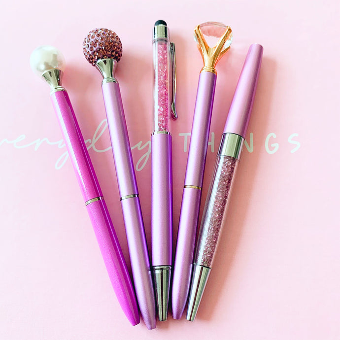 Glitter and Pearls - Purple Fashion Pen Set of 5 with free Refill Set - The Dallas Gordon Collection