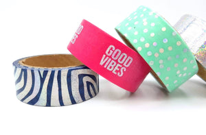 Good Vibes - 5 Piece Positive Quotes Planner Washi Tape Bundle - The Dallas Gordon Collection